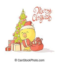 chicken, fabelachtig, boompje, kerstmis