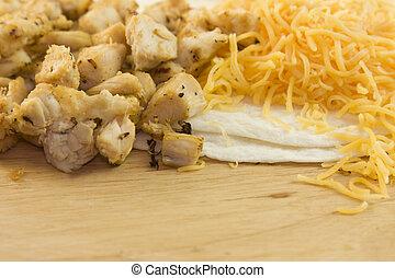 chicken fajita ingredients - chopped, grilled chicken...