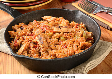 Chicken fajita with rice - Chicken fajita with green peppers...