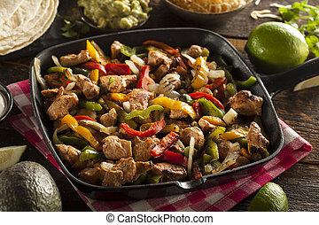 chicken, fajitas, groentes, zelfgemaakt
