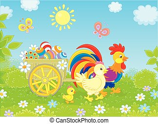Chicken family with a cart of Easter eggs