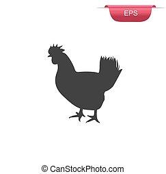 chicken farm, hen, icon, vector