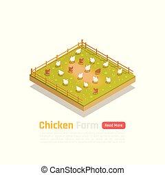 Chicken Farm Isometric Composition