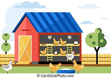 Chicken farm, vector illustration.