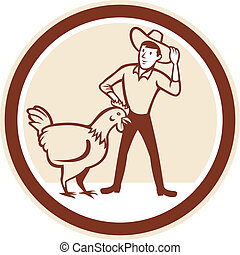 Illustration of hen chicken with male farmer feeder set inside circle done in cartoon style.