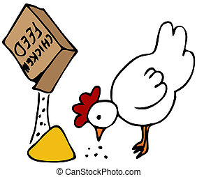 Chicken Feed - An image of a hen eating from a box of...