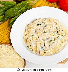 Chicken fettuccine alfredo - Chicken creamy alfredo sauce...