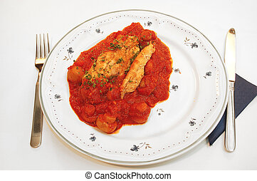 Chicken filet provencale. - Dinner time, plate with chicken ...