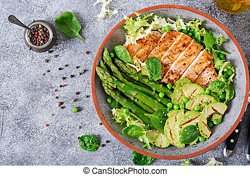 Chicken fillet cooked on a grill with a garnish of asparagus...