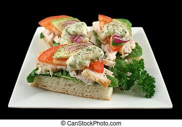 Chicken Finger Sandwiches - Fresh open chicken finger...