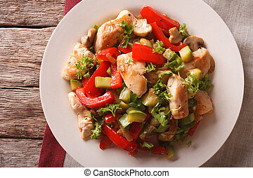 Chicken fried with mushrooms, peppers and zucchini closeup. Horizontal top view
