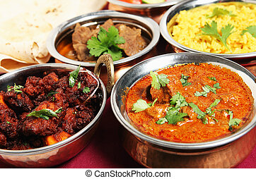 Chicken fry and lamb curry - Chicken fry (left) and Kashmiri...