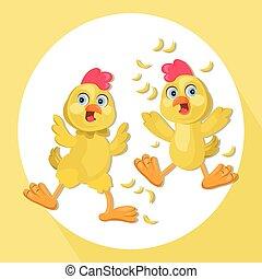 Chicken funny cartoon Vector illustration. Chicken funny cartoon. Pet scared faces Vector illustrations