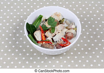 Chicken , galangal in coconut soup.