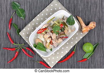 Chicken, galangal in coconut soup.