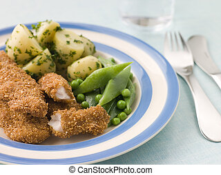 Chicken Goujons with Herb Buttered New Potatoes and Green ...