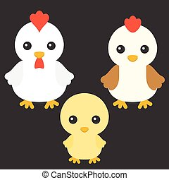 Chicken, hen and rooster cartoon character, flat design