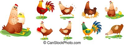 Chicken hen cock in different poses set isolated on white background. Cartoon chicks characters standing, sitting, running, hatching eggs, along, with babies, heart. Farm birds and animals collection.