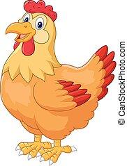 Chicken hen cute posing - vector, agriculture, animal, barn,...