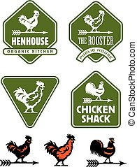 Chicken, hen or rooster logos and badges