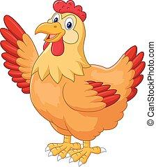 Chicken hen waving hand - vector, agriculture, animal, barn,...