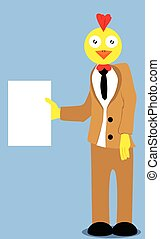 Chicken holding a blank paper