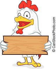 Chicken holding a plank of wood