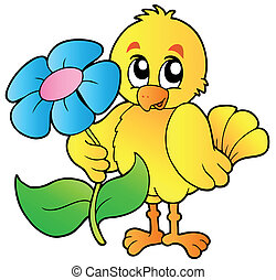 Chicken holding big flower - vector illustration.