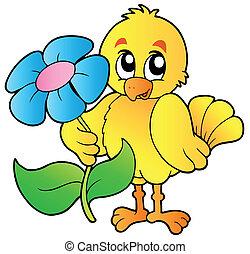 Chicken holding big flower - vector illustration.