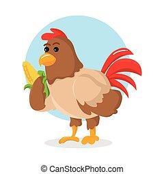 chicken holding corn