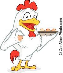 Chicken holding eggs