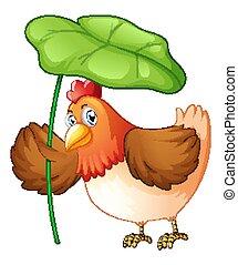 Chicken holding green leaf on white background