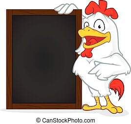 Chicken holding wooden menu board