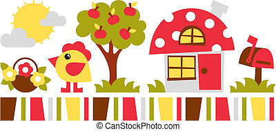 chicken house vector illustration