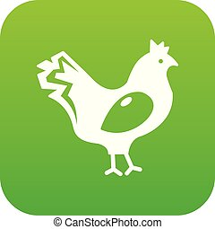 Chicken icon green vector