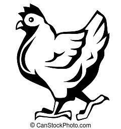 chicken icon, vector chicken silhouette, isolated chicken silhouette . Eps 10 vector illustration