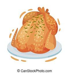 chicken., illustration, arrière-plan., vecteur, blanc, frit