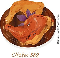 chicken, illustration., bbq, vecto.