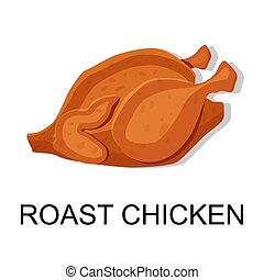 chicken., illustration., vector, asado, carne, colección, ...