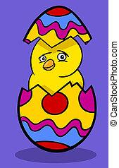 chicken in Easter egg cartoon illustration