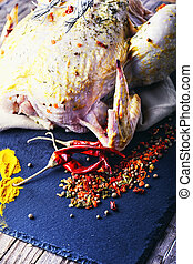 Chicken in spices and seasonings