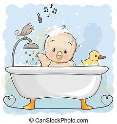 Chicken in the bathroom - Cute cartoon Chicken in the...