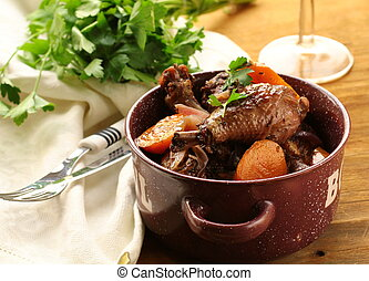 chicken in wine, coq au vin