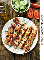 Chicken kebab and vegetables, country style