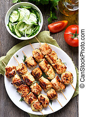 Chicken kebab and vegetables