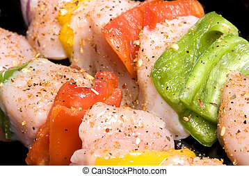 Chicken kebab with bell peppers and seasoning