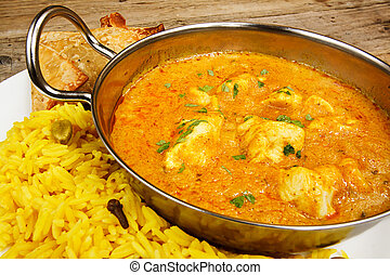 Chicken korma in balti dish with rice - Chicken Korma a...