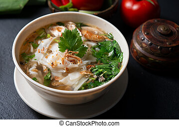 Chicken Kway Teow Soup - Asian kway teow soup noodle and...