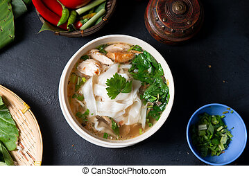 Chicken Kway Teow Soup - Asian kway teow soup noodles and...