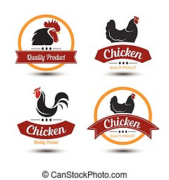 Chicken label - labels and badges set of chicken meat and...